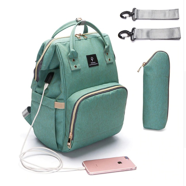 c971811d36b8 Backpack Diaper Bag USB Phone Charger Diaper Bag Backpack Multi-Function  Large Capacity Backpack Diaper Bag with Stroller Straps