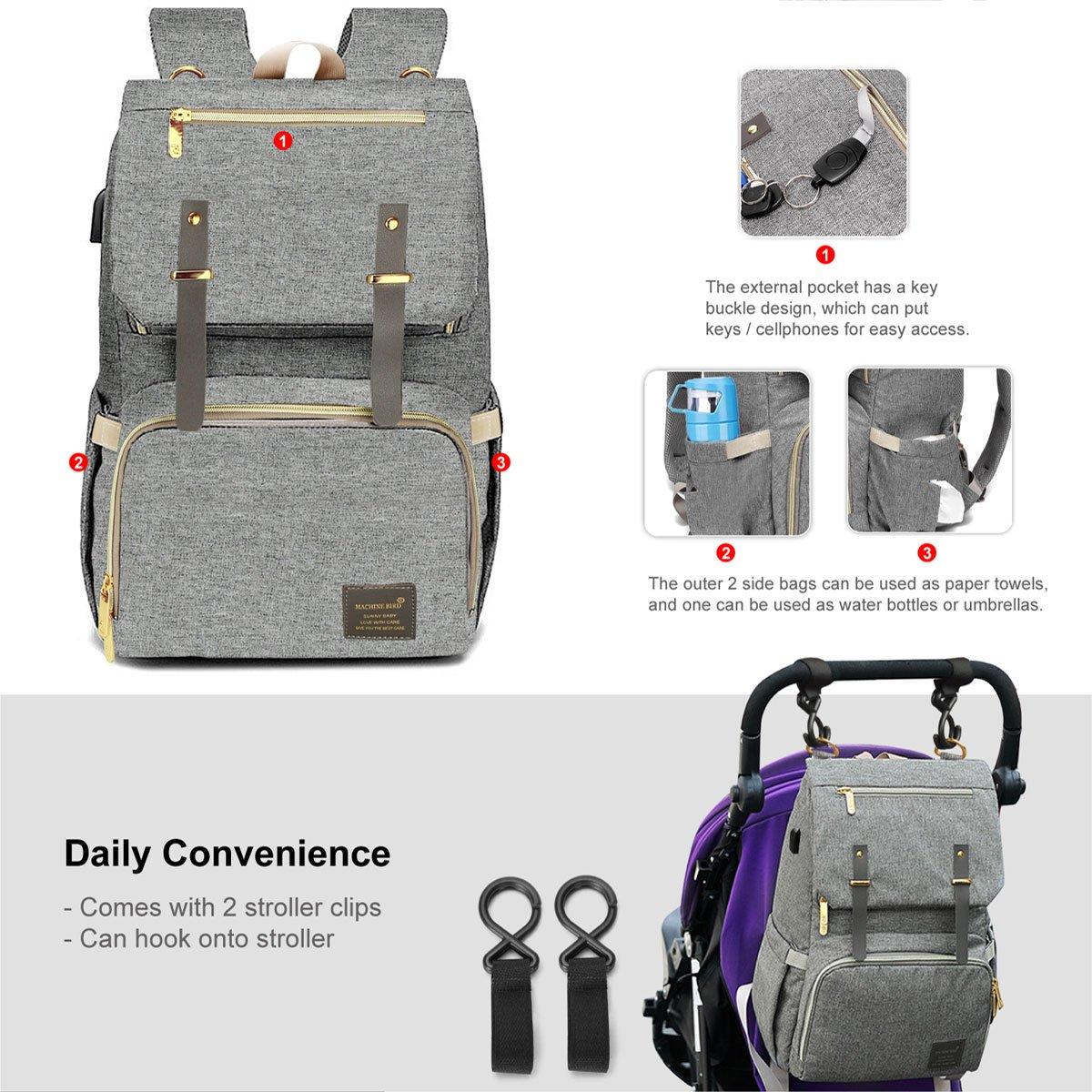 Machine Bird 2019 Diaper Bag Backpack with USB Bottle