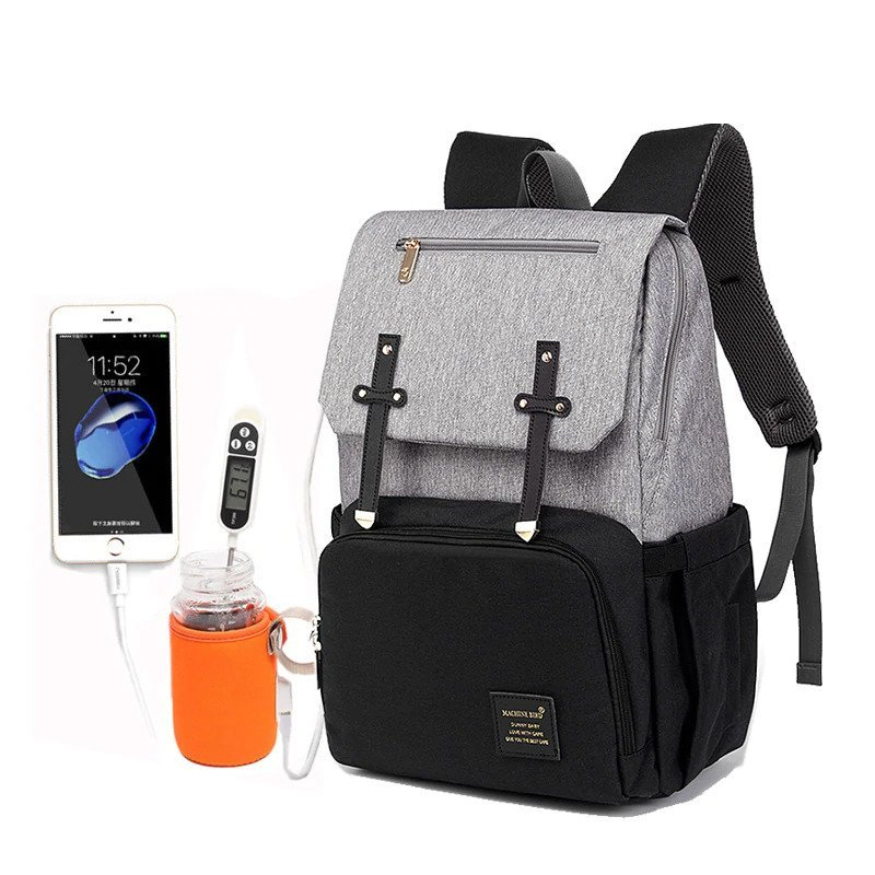 67aa7454d6ab42 Diaper Bag Backpack 2019 Design USB Phone Charger & Bottle Warmer Baby Bag  with Stroller Straps