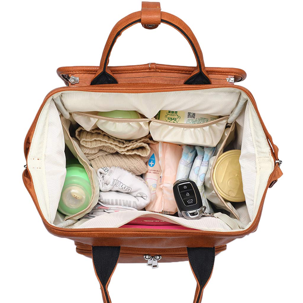 Leather Diaper Bag Backpack With Changing Pad Amp Stroller