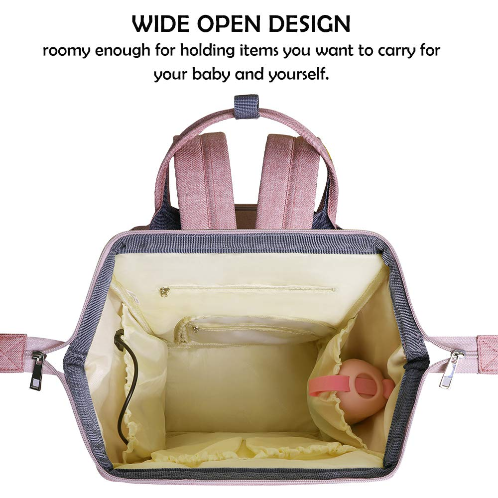Diaper Bag Backpack with USB Phone Charger & Stroller