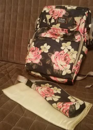 Floral Diaper Bag Backpack Flower Pattern Baby Bag with Stroller Straps photo review