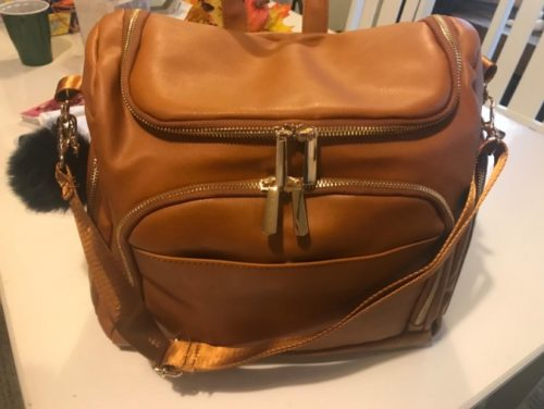 Convertible Leather Tote Diaper Bag Backpack photo review