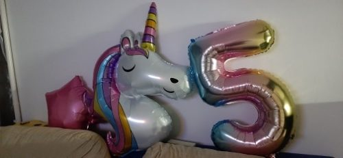 Rainbow Unicorn Baby Shower Ballons Party Decorations 7PCS photo review