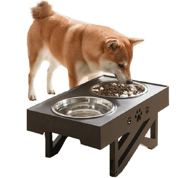 Dogs Double Bowl Removable Non-Slip Adjustable Heights Table