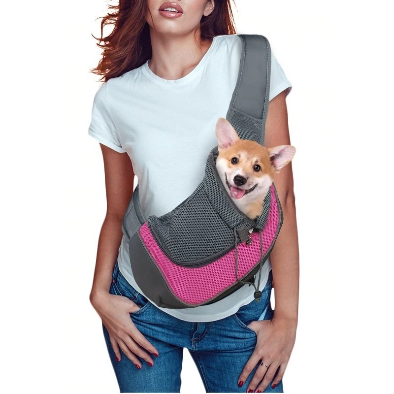 Pet Sling Carrier Adjustable Strap & Breathable Mesh Bag