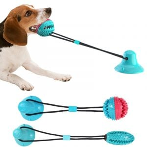 Dog Chew Suction Toy Multifunction Food Dispensing Ball Toothbrush