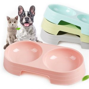 Double Pets Bowl Water Food Feeder Light Weight Dish Feeder