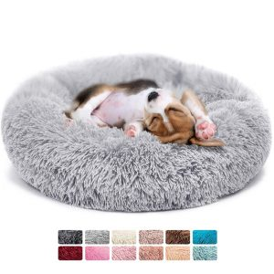 Ultra Soft Pet Bed 31 inch Washable Calming Cushion Kennels Self Warming