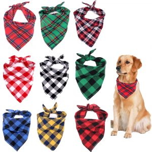 Pet Bandanas Handmade Square Printed Adjustable Washable for Small to Large Dog Puppy Cat