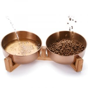 Pet Double Bowl Wood Stand Stainless Steel 15 Degree Food Water Dish