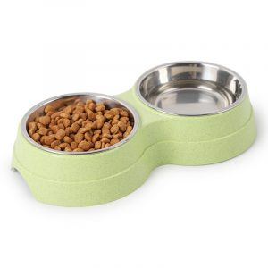 Double Pets Bowl Water Food Feeder Stainless Steel Dish Feeder