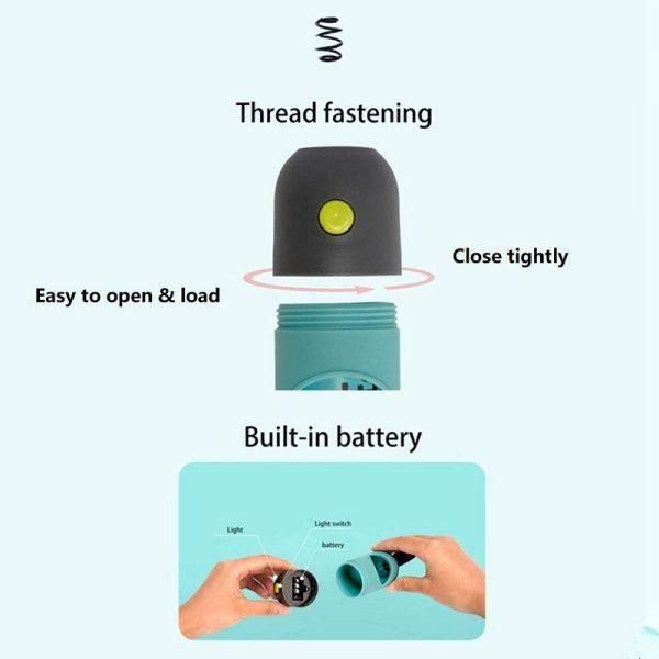 Dog Poop Bag Dispenser LED Light Leash Holder