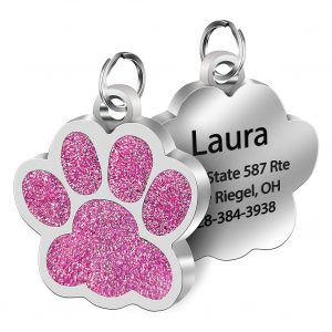 Dog Collar Tag Personalized Engraved Paw Shape