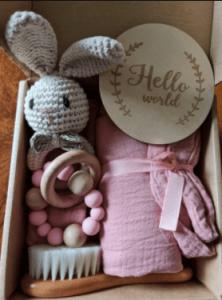 Baby Bath Set Swaddle Bibs Brush Rattle photo review