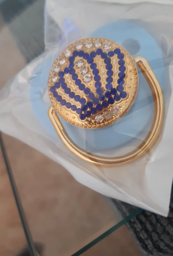 Baby Pacifier And Holder Clip Safe Bling Blue Crown Rhinestone photo review