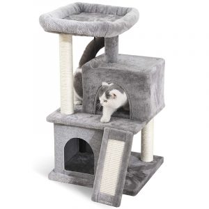 Cat Tree Dual House Plush Perch Scratching Sisal Posts Tower