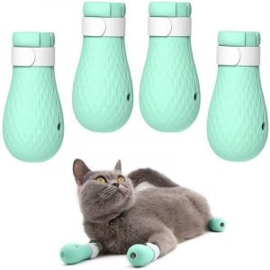 4Pcs Cat Adjustable Anti-Scratch Silicone Paw Protector Boots