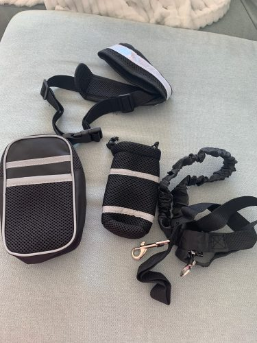Dog Hands Free Running Leash Elastic Collar Belt Set photo review