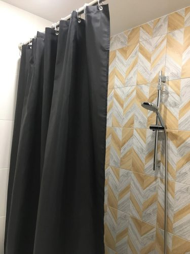 Modern Black Shower Curtains Waterproof Fabric photo review